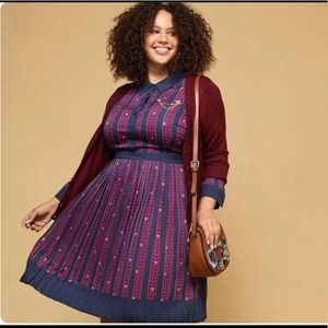 modcloth just my typist retro pleated shirt dress